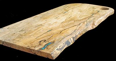 Live Edge Spalted Sugar Maple with Turquoise, Malachite and Azurite Inlay