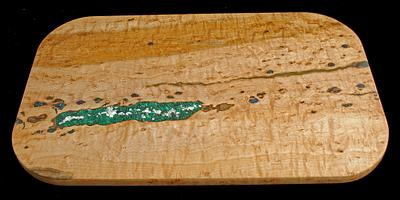 Side One of Bird's Eye Maple with Malachite, Azurite, Opal, and Mother of Pearl Inlay