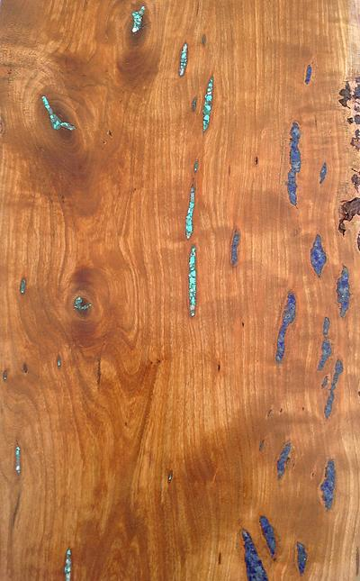 Detail of Live Edge Bark Included Cherry with Azurite, Turquoise, and Malachite Inlay