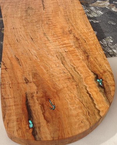 Detail of Curly Tapped Sugar Maple with Green Turquoise Inlay