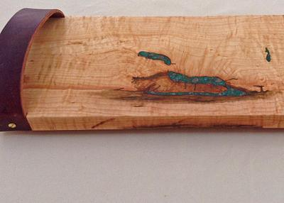 Curly Tapped Sugar Maple with Chrysocolla and Pyrite Inlay and Leather Handles
