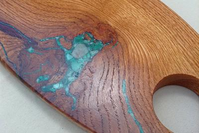 Detail of Side One of Red Oak with Malachite and Amazonite Inlay