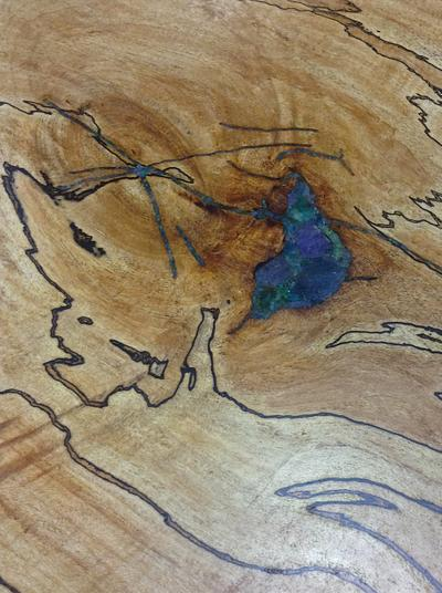 Detail of Spalted Sugar Maple with Apatite, Chrysocolla, and Tanzanite Inlay