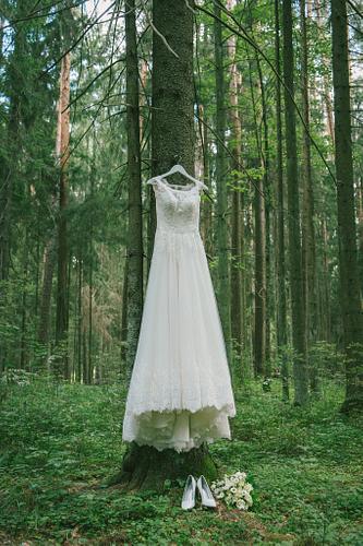 Līgavas kleita pakarināta mežā uz zara