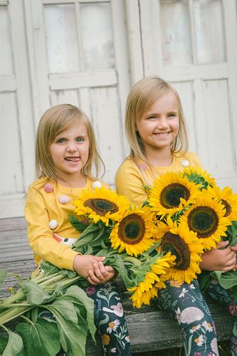 Divas mazas māsas ar saulespuķēm sēž un smaida bērnu fotosesijā
