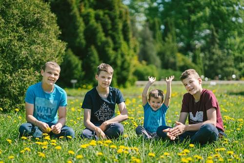 Četri brāļi sēž ziedošā pieneņu pļavā