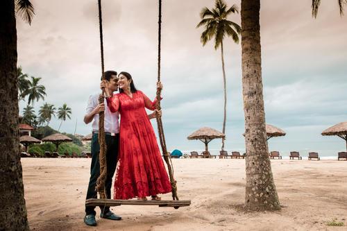 Swinging at the beach in Kerala backwaters