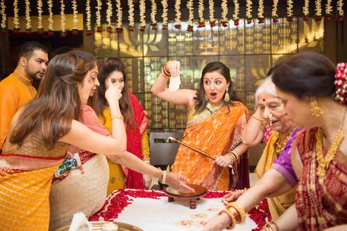 Candid moments at a Gujarati Haldi ceremony