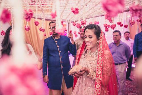 Bridal entry with phoolon ki chaddar