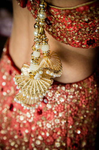Bridal details of Megha & Jigar desinger lehenga