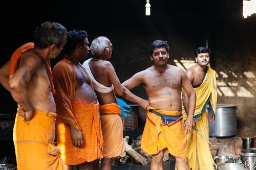 Men in Hindu Temple Kitchen