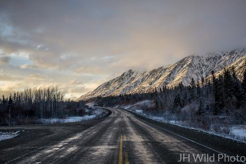 Haines Highway in twilight