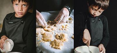 Boy preparing cookies