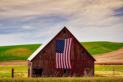 Barn and Flag