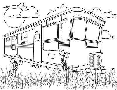 Vintage Mobile Home Coloring Pages