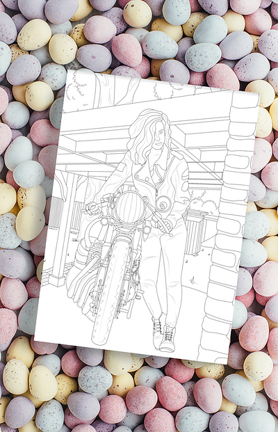 Women Riders - Motorcycle Coloring Pages