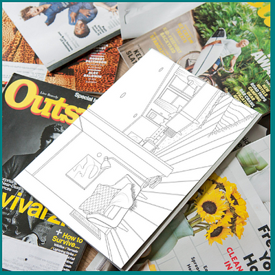 Mid Century Modern Home Interior Coloring Pages