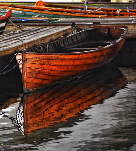 A wooden boat in Boston, full length view