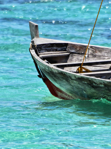 The Maldives, wooden boat, blue sea
