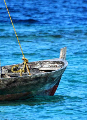 The Maldives, wooden boat, blue sea,
