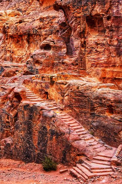 Climbing the Stairs, Petra, Jordan