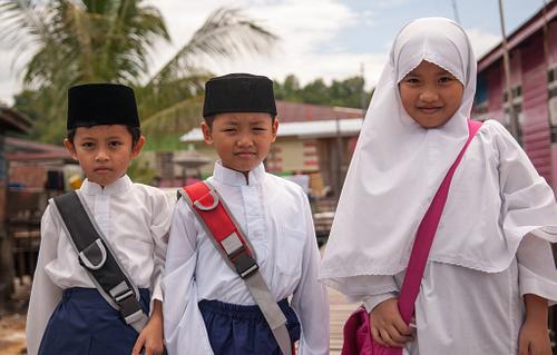Three Schoolkids in Kampong Ayer Brunei