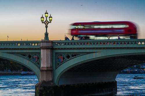 London Bus on Westminster Bridge