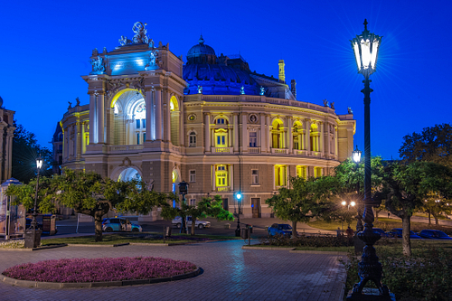 Odessa Opera House During A summer Blue Hour