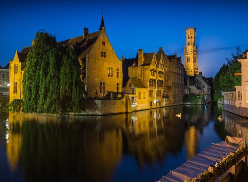 Bruges Belfry during blue hour
