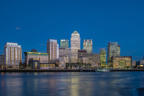 Early evening view of Canary Wharf London