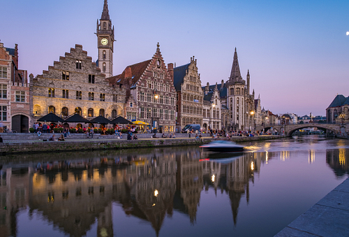 Evening in Ghent during blue hour