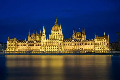 Wide static shot of the Hungarian parliament during blue hour