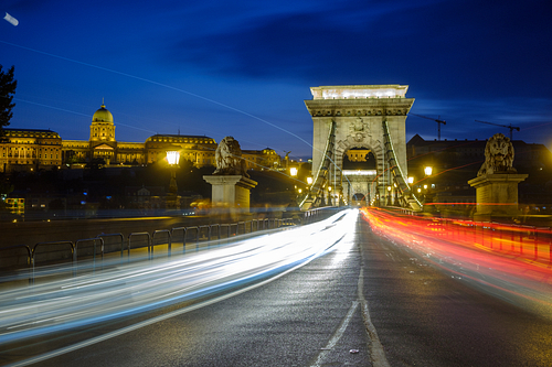 Twilight shot of traffic crossing the Chain Bridge  during blue
