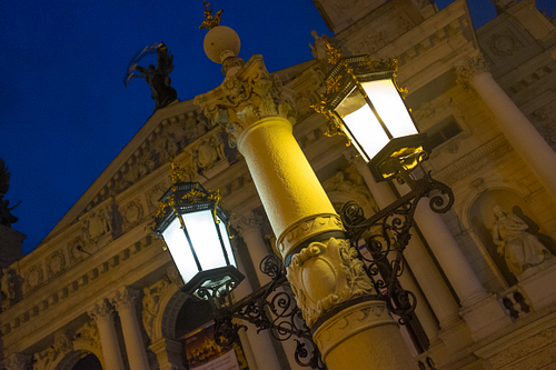 Lights outside Lviv Opera House during blue hour