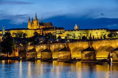 Blue hour shot of Charles Bridge and Prague Castle