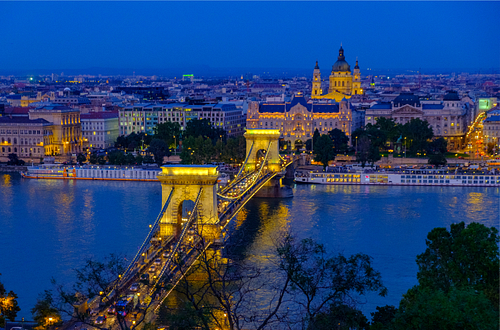 Elevated shot of blue hour in Budapest
