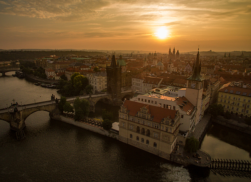 Drone Image of Dawn Over Prague Old Town  and Charles Bridge