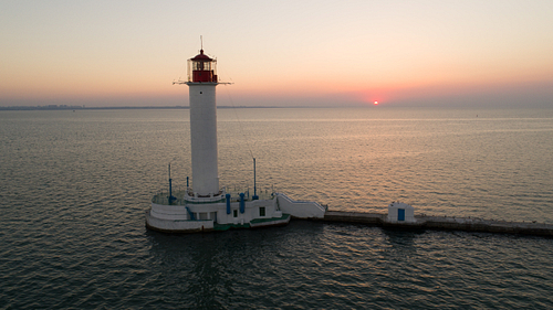 Drone Shot Of Sunrise Behind Odessa Lighthouse
