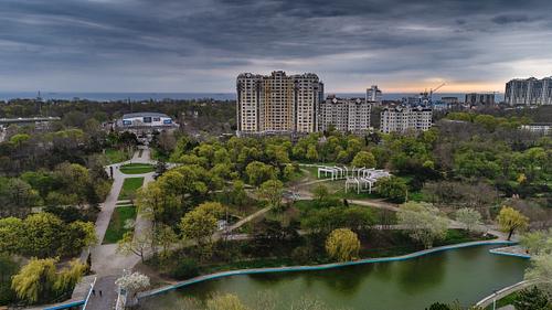 Aerial View of Arboretum Peremohy in Odessa