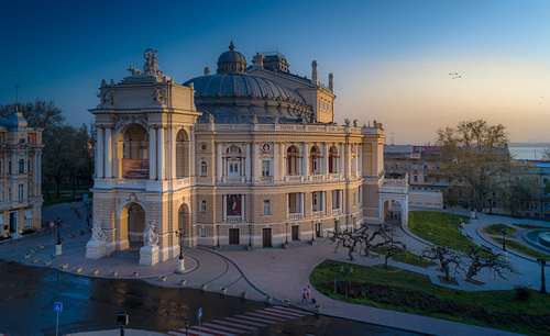 Drone image of the Odessa Opera House