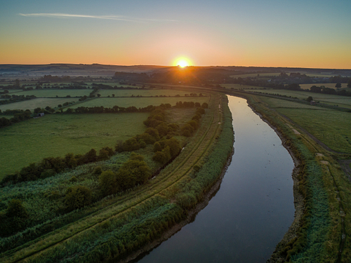 Drone photo over the River Arun in West Sussex