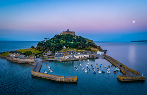 Drone shot of St Michaels Mount Cornwall