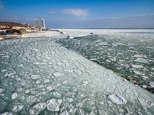 Frozen Black Sea in Odessa Ukraine