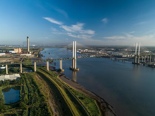 Aerial of QEII Bridge looking west
