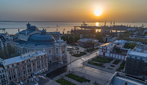 Aerial image of sunrise over the Odessa Opera