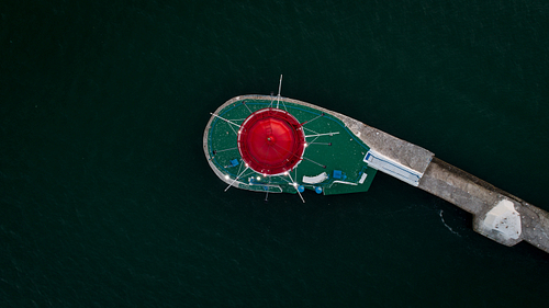 Aerial shot looking down on Odessa Lighthouse