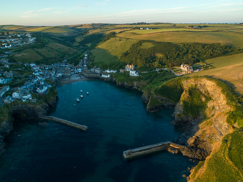 Aerial drone image of Port Issac In Cornwall