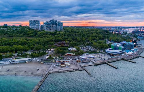 Drone image of Langeron Beach Odessa Ukraine