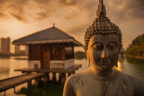 Sun sets over Gangaramaya Park with Buddha