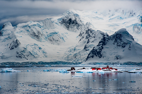 Dramatic seascape of Paradise Harbour on the Antarctic Peninsula